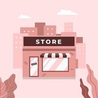 Store shop or cafe front exterior facade. Street local retail shop building in the city. vector