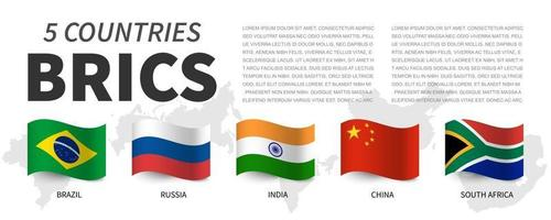 BRICS . Association of 5 countries and flags  and map . Waving flag design . Vector .