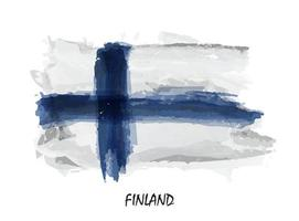 Realistic watercolor painting flag of Finland . Vector .