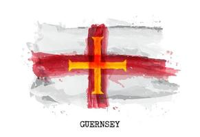 Realistic watercolor painting flag of Guernsey . Vector .