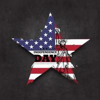 4th of July independence day of USA . Grunge star shape with america flag and statue of liberty drawing design on chalkboard texture background . Vector