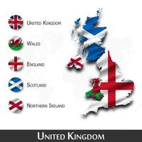 United kingdom of great britain map and flag . Scotland . Northern ireland . Wales . England  . Waving textile design . Dot world map background . Vector .