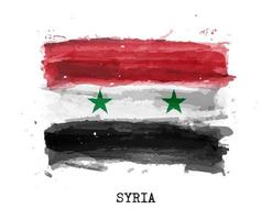 Realistic watercolor painting flag of Syria . Vector .