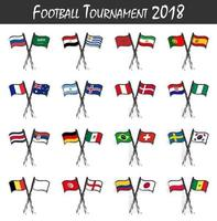 Set of national soccer team flags . Sport match concept . Watercolor art child painting flat design . Vector for international football tournament cup 2018 .