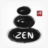 Zen stone stack . Sumi e style . Ink watercolor painting design . Black gray overlap color . Red square stamp with kanji calligraphy  Chinese . Japanese  alphabet translation meaning zen . Vector .