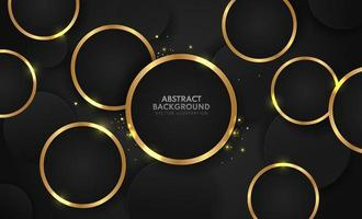 anillos de oro abstractos con brillo sobre fondo negro. diseño de plantilla web de banner moderno. lujo geométrico y estilo elegante. ilustración vectorial vector