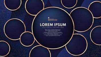anillos de oro brillantes abstractos con brillo sobre fondo azul oscuro. diseño de plantilla web de banner moderno. lujo geométrico y estilo elegante. ilustración vectorial vector