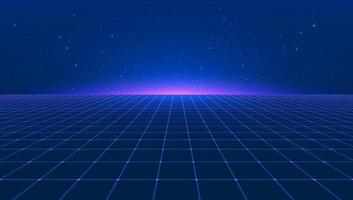 Abstract bright retro blue pink purple background futuristic landscape 1980s style. Vector illustration 80s party background . 80s Retro Sci-Fi background. Light perspective grid.