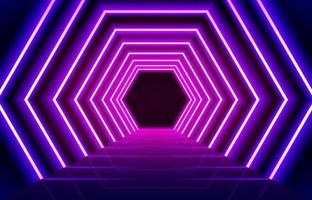 Fondo de piso de línea de luces de neón azul magenta brillante abstracto. perspectiva hexagonal concepto led. Entrada de luces de neón vip o concepto de festival. vector