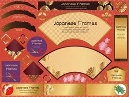 Set Of Japanese Style Vector Frames And Backgrounds