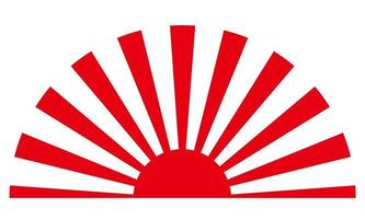 Japanese Vector Rising Sun Vintage Symbol Isolated On A White Background