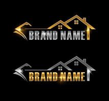 Golden and Silver Home and Money Sign vector