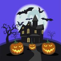 ilustración de concepto de halloween de casa de miedo vector
