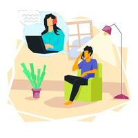 Talking to call center illustration concept vector