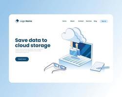 Uploading data to cloud storage illustration concept vector