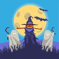 Halloween pumpkin monsters illustration concept vector
