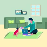 Working from home, remote work, flexible workplace illustration vector