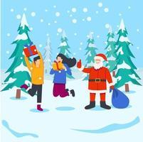 Santa giving gift to kids vector illustration concept
