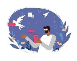 Man sending message illustration concept vector