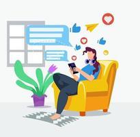 Girl browsing social media in home illustration concept vector