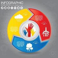 diagrama infográfico redondo conectado. gráfico circular con 3 opciones. Pasos de progreso en papel para el tutorial con dos partes. banner de secuencia de concepto de negocio aislado. diseño de flujo de trabajo eps10. vector
