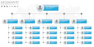 Corporate organization chart with people icons. Vector illustration.