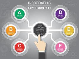 Infographic design template and business concept with 6 options, parts, steps or processes. Can be used for workflow layout, diagram, number options, web design. vector