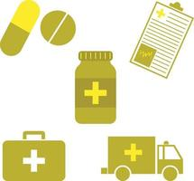 A Set of Hospital Flat Art Design Health Care Icons Such as Capsules, Tablets, Pills, Medical Form, Medical Cross, Medicine Bottle, First Aid Kit or Box and Ambulance in Gold Color vector