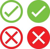 A Set of Green Tick and Red X Icons that Represent Passed Accepted, Agreed, Valid, Confirmed, Seen, Access Denied, Failed, Wrong vector