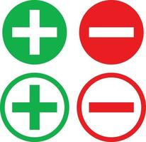 Positive and Negative sign Icons in Fill and Outline Green and Red Color vector