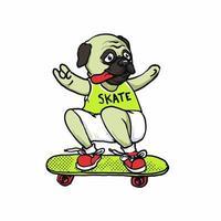 Skate board dog pug illustration vector