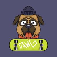 Hipster pug dog and skateboard vector