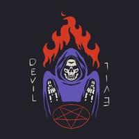 retro grim reaper with fire and demonic symbol vector