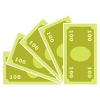 Simple symbolic illustration of paper money - five hundred dollars, marks, euros or pounds - in cartoon style vector