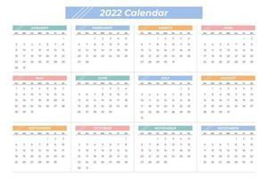 colorful 2022 calendar vector