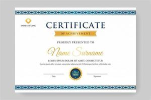white certificate with blue ornament vector