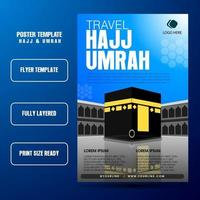 Hajj And Umrah Flyer Template With Blue sky background and kaba realistis vector