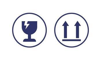 fragile symbols, vector icons on white
