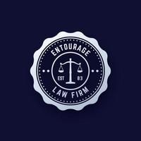 Law firm vintage round logo, law office emblem, vector