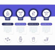 Gym training, workout, 4 steps infographic template, with line fitness icons vector