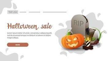 venta de halloween, banner web de descuento horizontal blanco con diseño minimalista de gota de agua, lápida y gato de calabaza vector