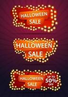 venta de halloween, tres pancartas de descuento con una guirnalda amarilla enrollada alrededor de una pancarta. banner de plantilla de descuento para su negocio. vector