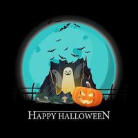 feliz halloween, postal de saludo cuadrado negro con gran luna llena, portal con fantasmas y calabaza jack vector