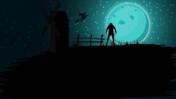 Halloween background, full blue moon, starry sky, old mill, bats and werewolf. Halloween background for your arts vector