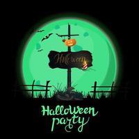 fiesta de halloween, cartel de invitación cuadrado negro con gran luna llena verde y antiguo cartel de madera con calabaza adjunta vector