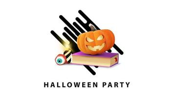 Halloween party, white stylish minimalist greeting postcard with spell book and pumpkin Jack vector