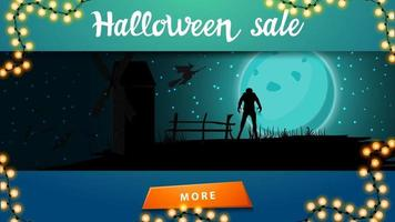 Halloween sale, discount banner with halloween landscape on the background. Halloween background, full blue moon, starry sky, old mill, bats and werewolf. vector