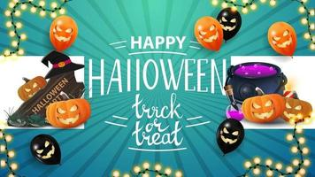 Happy Halloween, trick or treat, greeting blue card with halloween balloons, wooden sign, witch's cauldron and pumpkin Jack vector