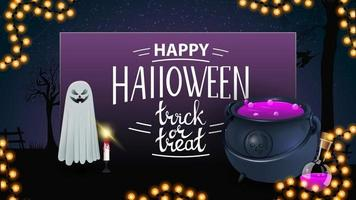 Happy Halloween, trick or treat, greeting purple card with ghost and witch's cauldron with potion vector