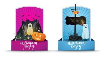 Halloween party, two invitation vertical cards with portal with ghosts, pumpkin Jack and old wooden sign with attached pumpkin Jack. Pink and blue invitation cards vector